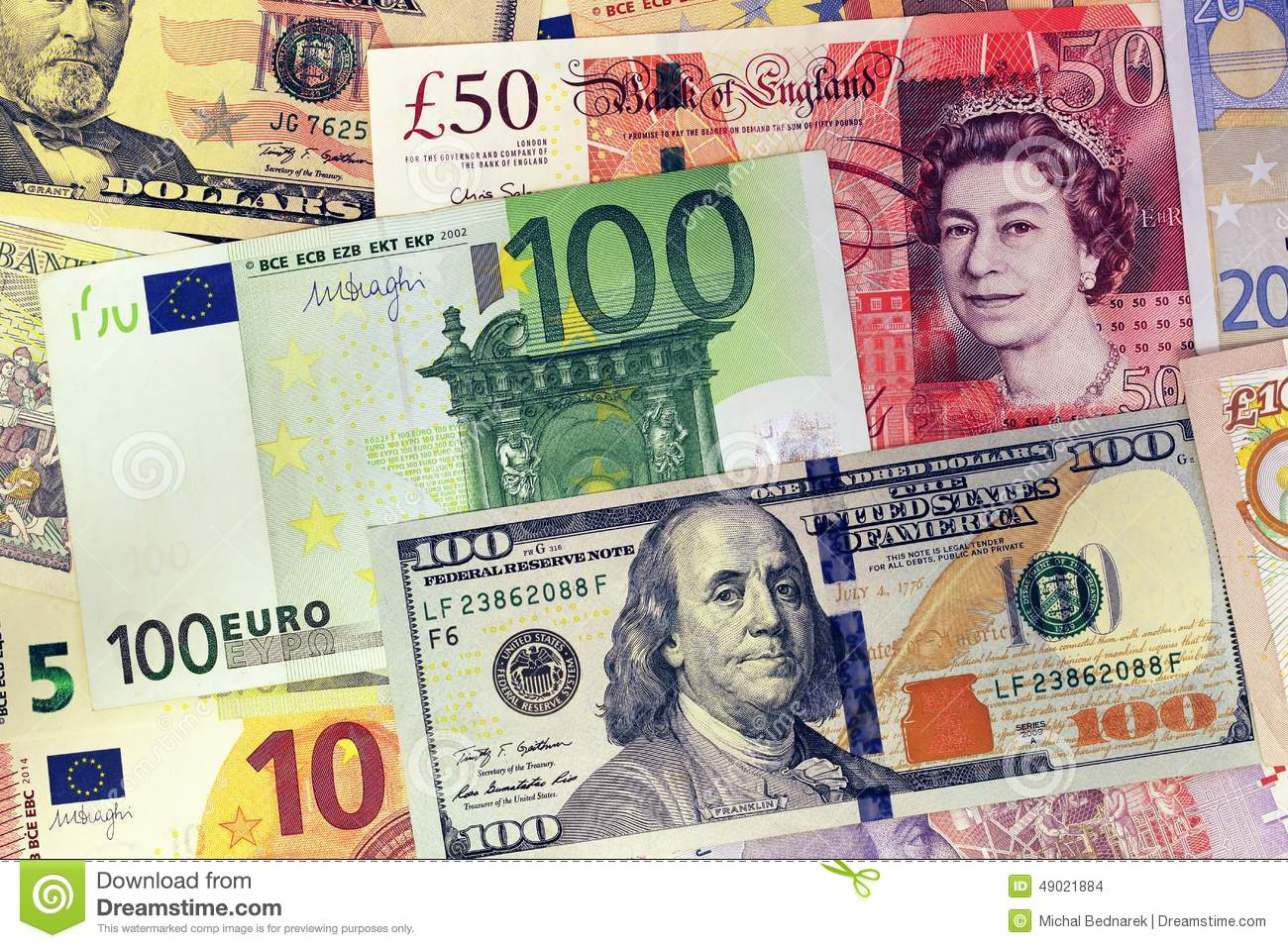 1 Libra Equivale A Euros Mix Of Currencies Banknotes Dollar Pound Sterling Euro