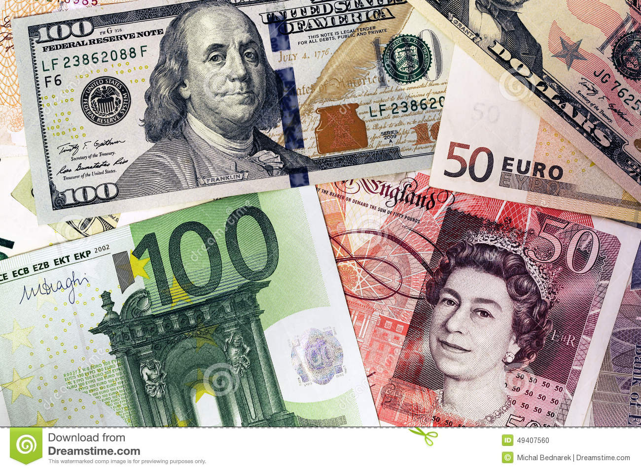 Libras Esterlinas Euros Mix Of Currencies Banknotes Dollar Pound Sterling Euro