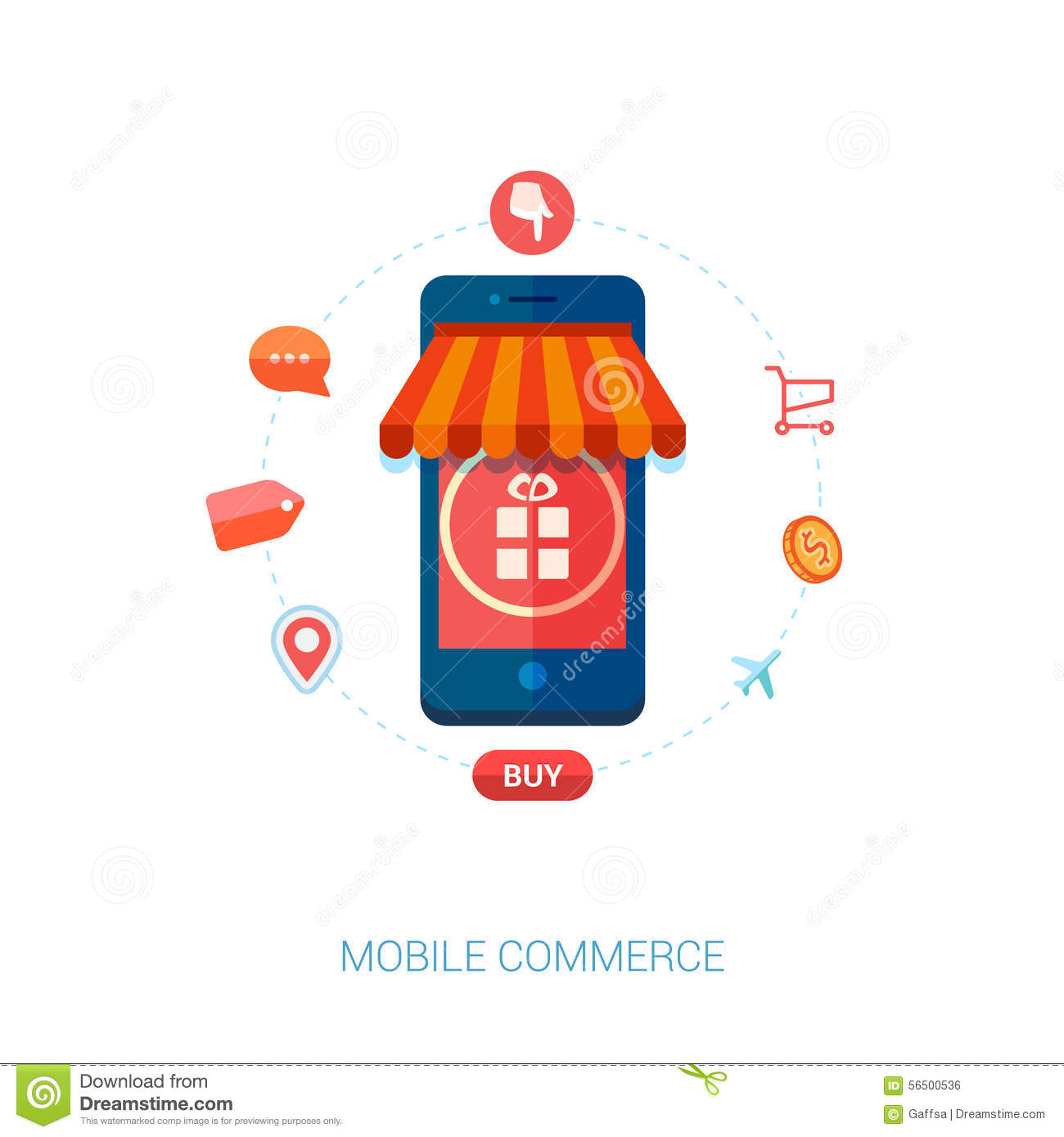 E Commerce Mobili Mobile E Commerce And Local Shop Flat Icon Stock Vector