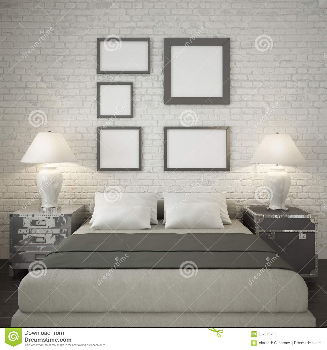 Brick Bed Frames Mock Up Poster Frames At The White Brick Wall Of Bedroom