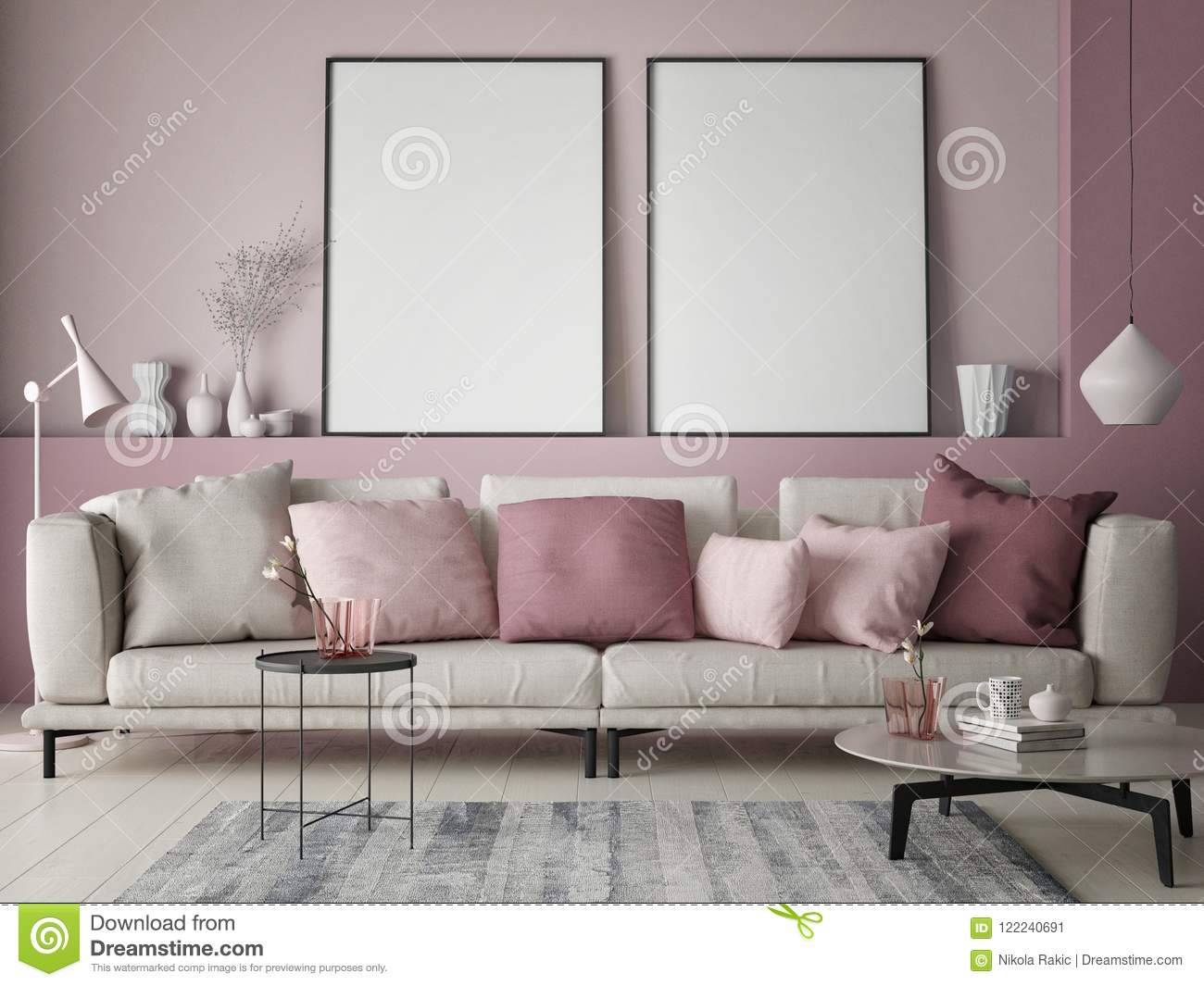 Wohnzimmer Modern Pastel Mock Up Poster On Rose Wall In Hipster Living Room Pastel Colored