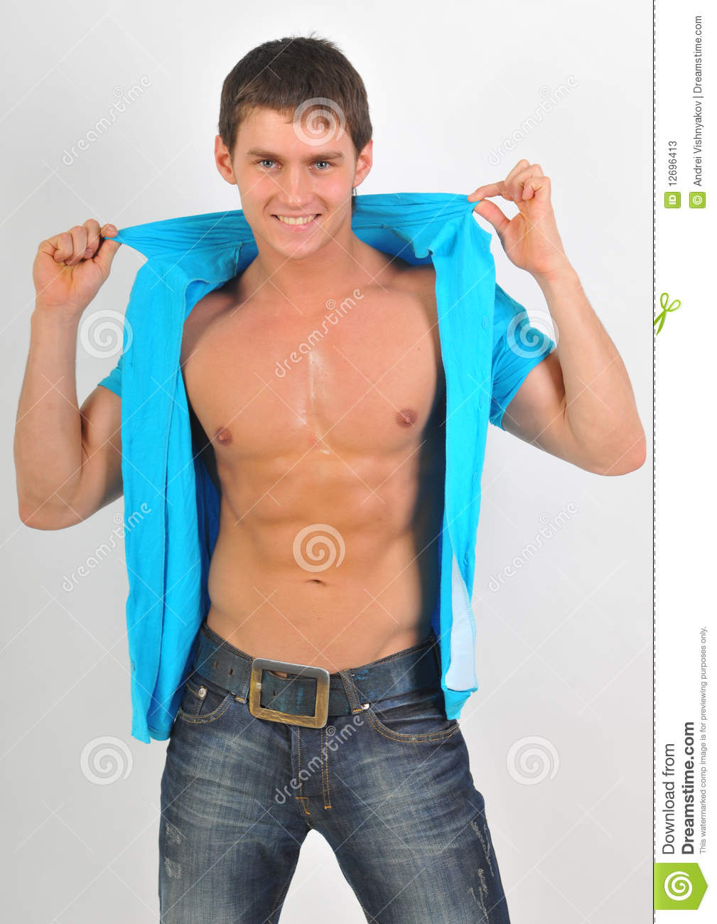Blue Model Model In Blue Shirt Stock Image Image Of Muscularity 12696413