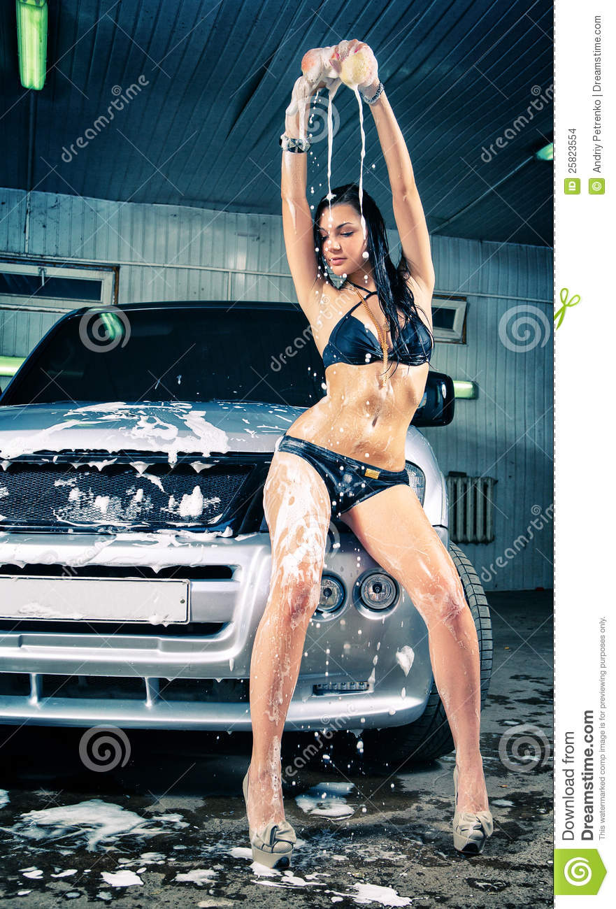 Beautiful Little Girl Hd Wallpaper Model At The Car Wash In Garage Stock Photo Image Of