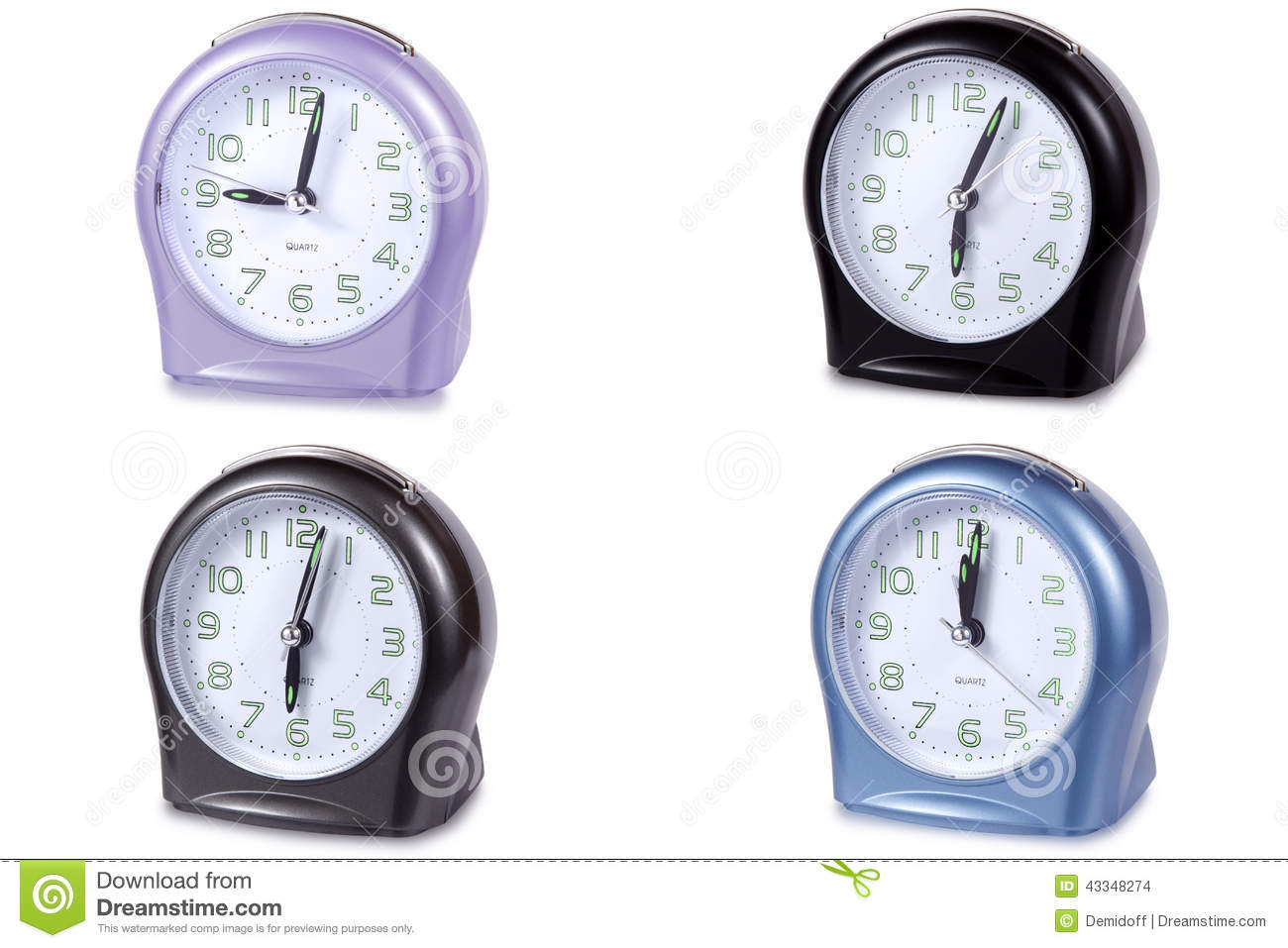 Modern Digital Clocks Modern Alarm Clock Multi Colour Stock Photo Image 43348274