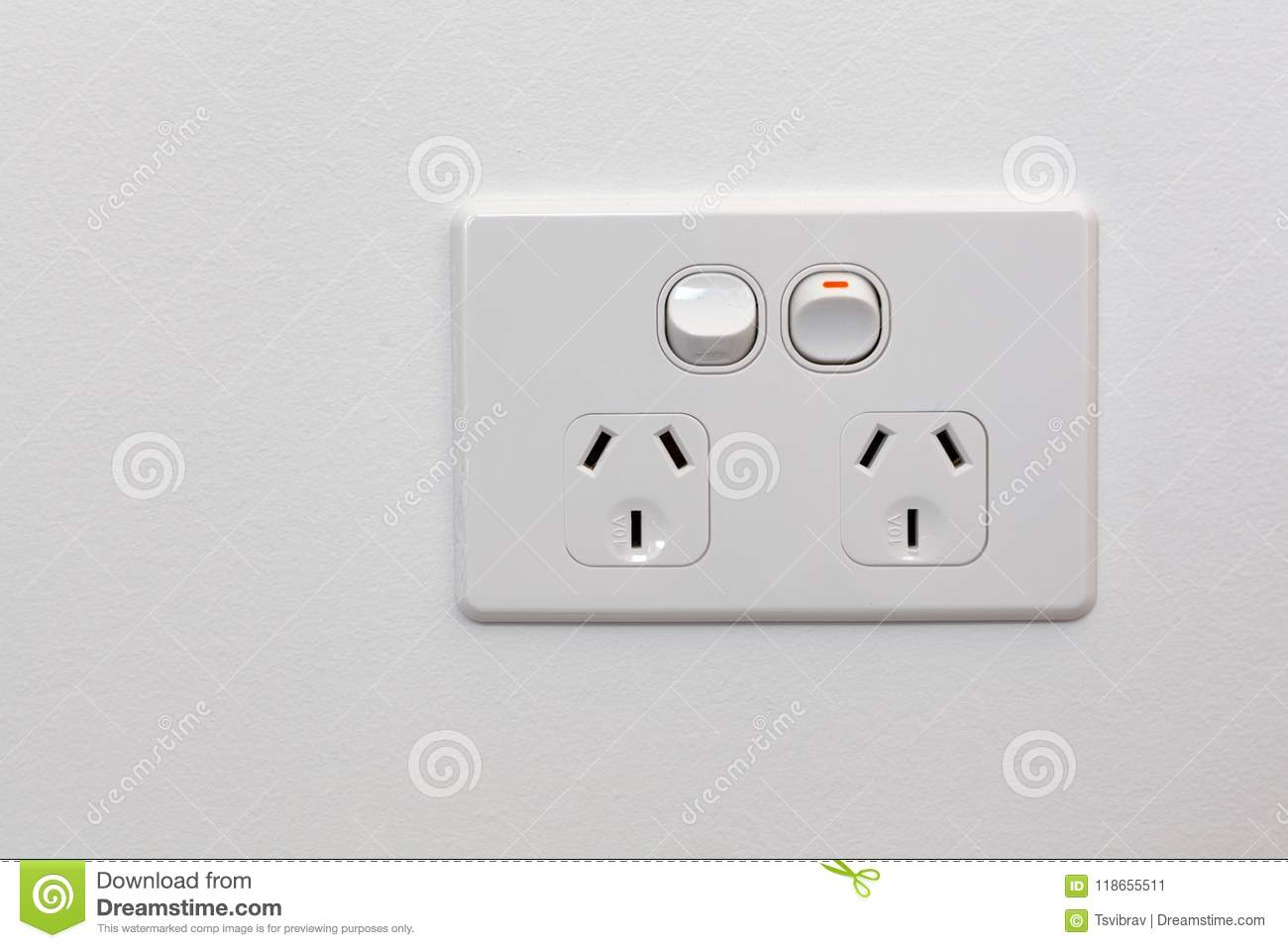 Australia Power Socket Double Power Outlet On White Wall Stock Image Image Of Power