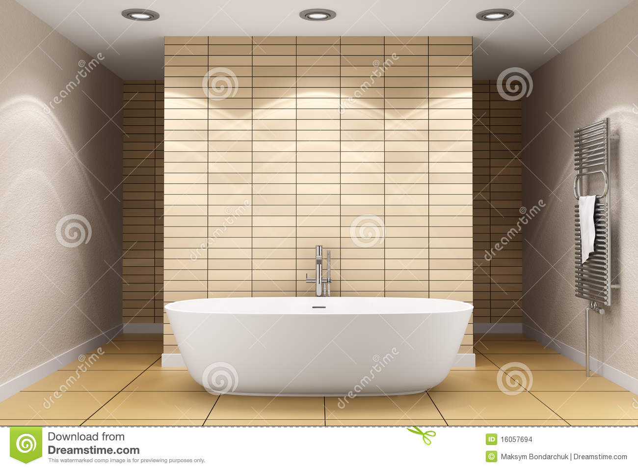 Grundriss Badezimmer Länglich Modern Bathroom With Beige Tiles On Wall Stock Photo