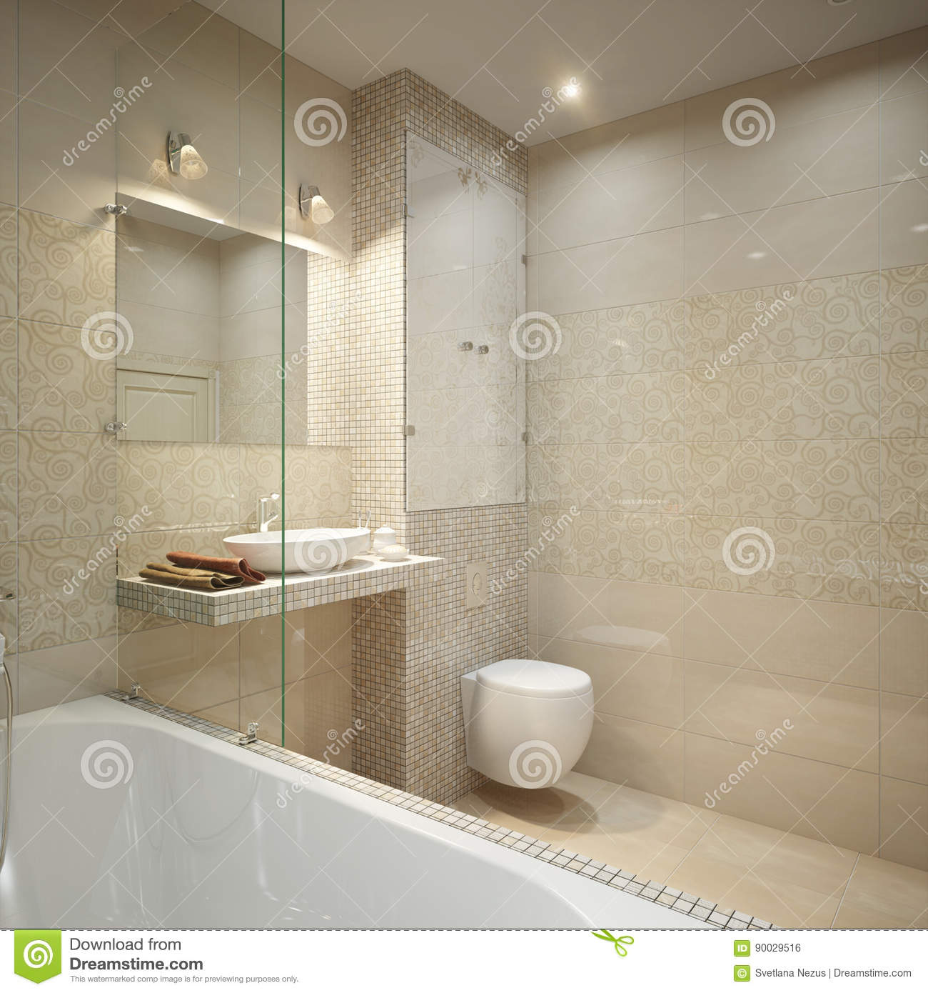 Modern Bathroom Interior Design Stock Illustration Illustration Of House Design 90029516