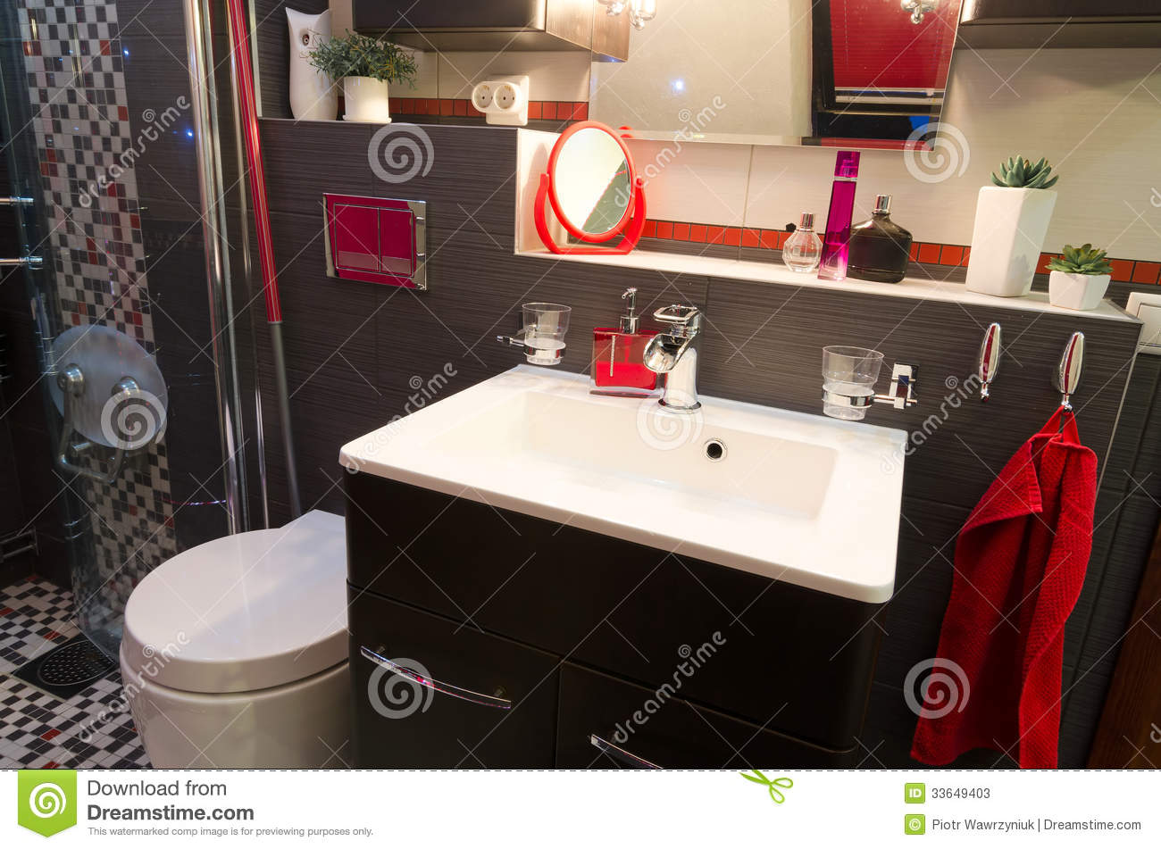 Red Accents Modern Bathroom Interior With Red Accents Stock Photos