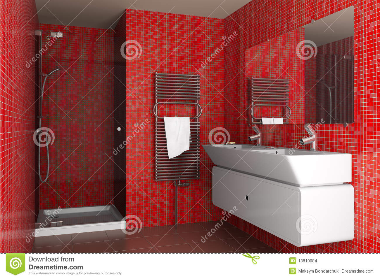 Mozaik Badezimmer Modern Bathroom With Red Mosaic Tiles Stock Images Image