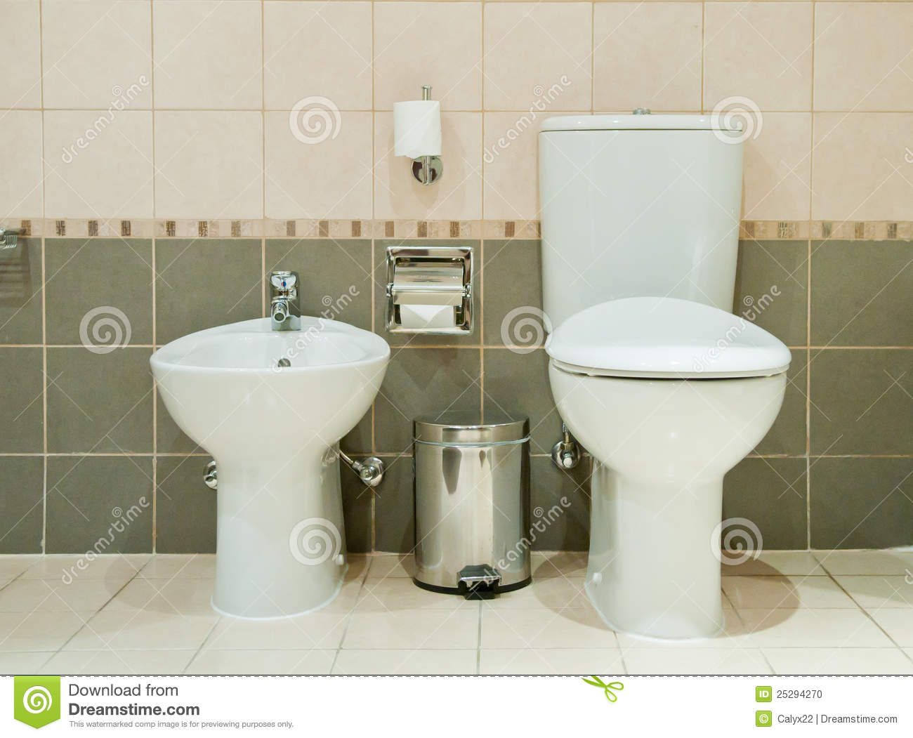 Bidet Toilette Modern Bathroom With Toilet And Bidet Stock Photo Image Of