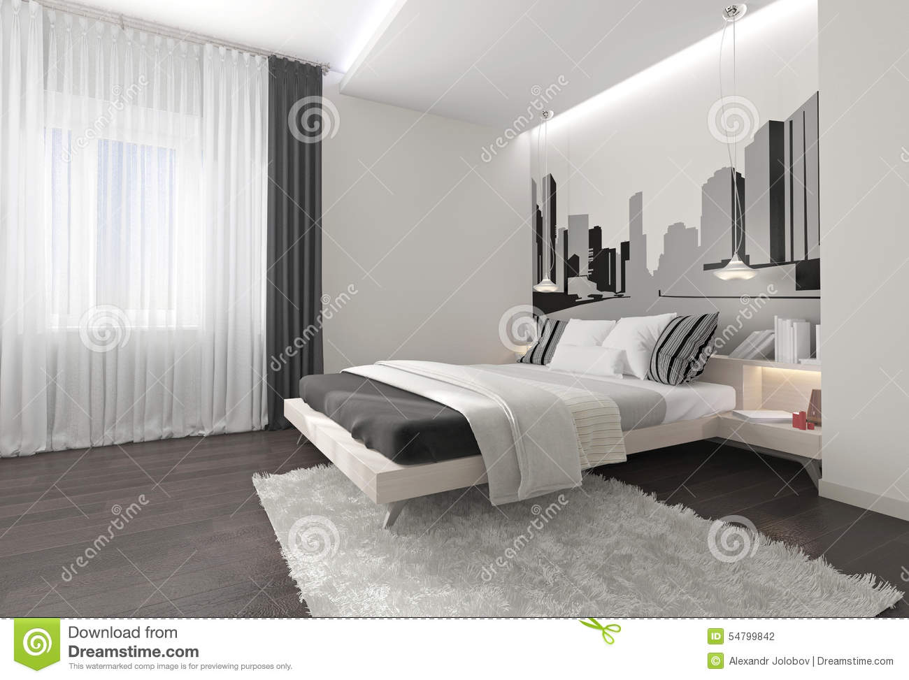 Moderne Gordijnen Slaapkamer Modern Bedroom Interior With Dark Curtains Stock Photo