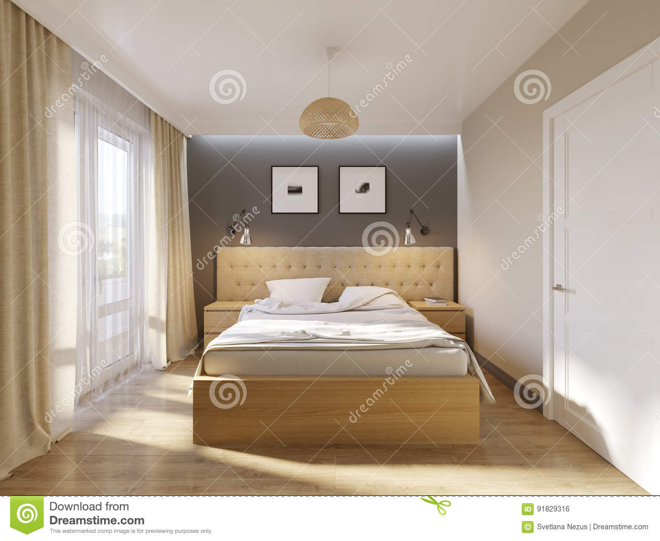 Curtains For Light Grey Walls Modern Bedroom Interior Design Stock Illustration Illustration