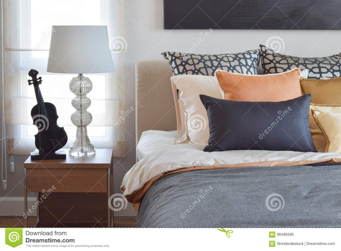 Bed Table Lamps Modern Bedroom Interior With Orange And Gold Pillows On Bed And