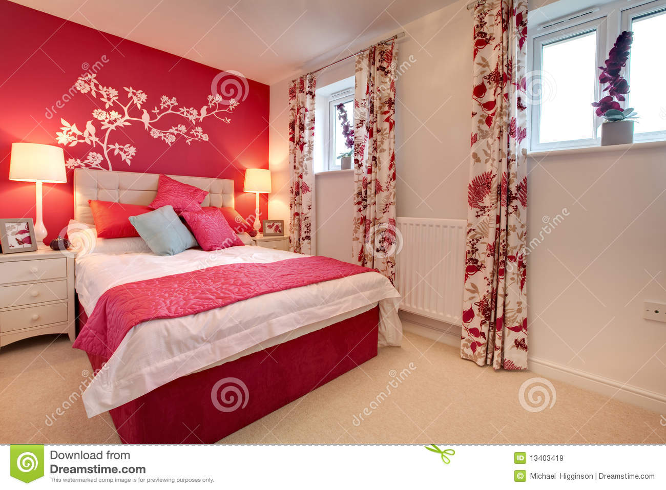 Neon Decoration Maison Modern Brightly Decorated Bedroom Royalty Free Stock