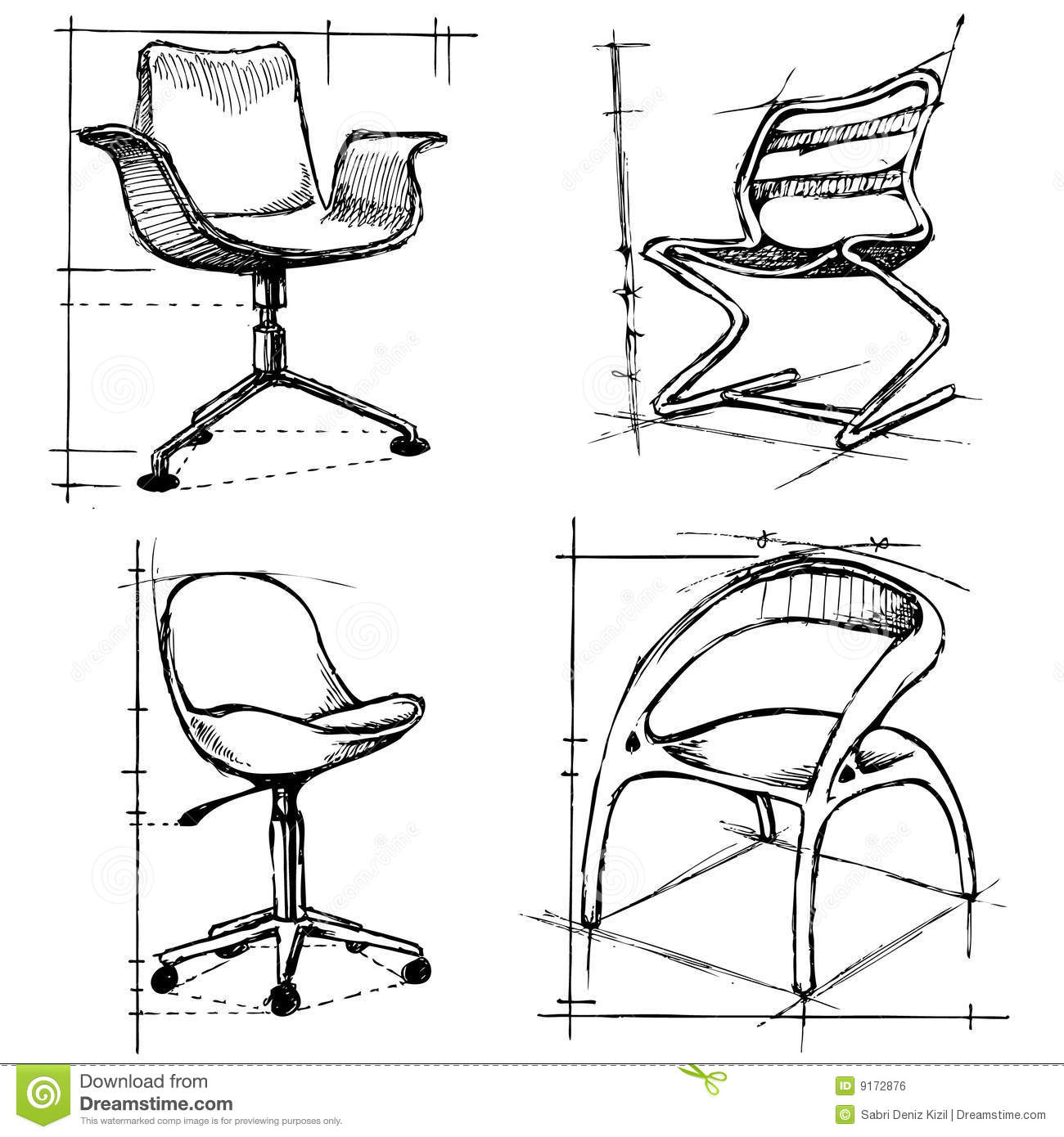 Modern furniture sketches chair sketches - Simple Chair Sketches Modern Chairs Illustration Royalty Free Stock Image Download