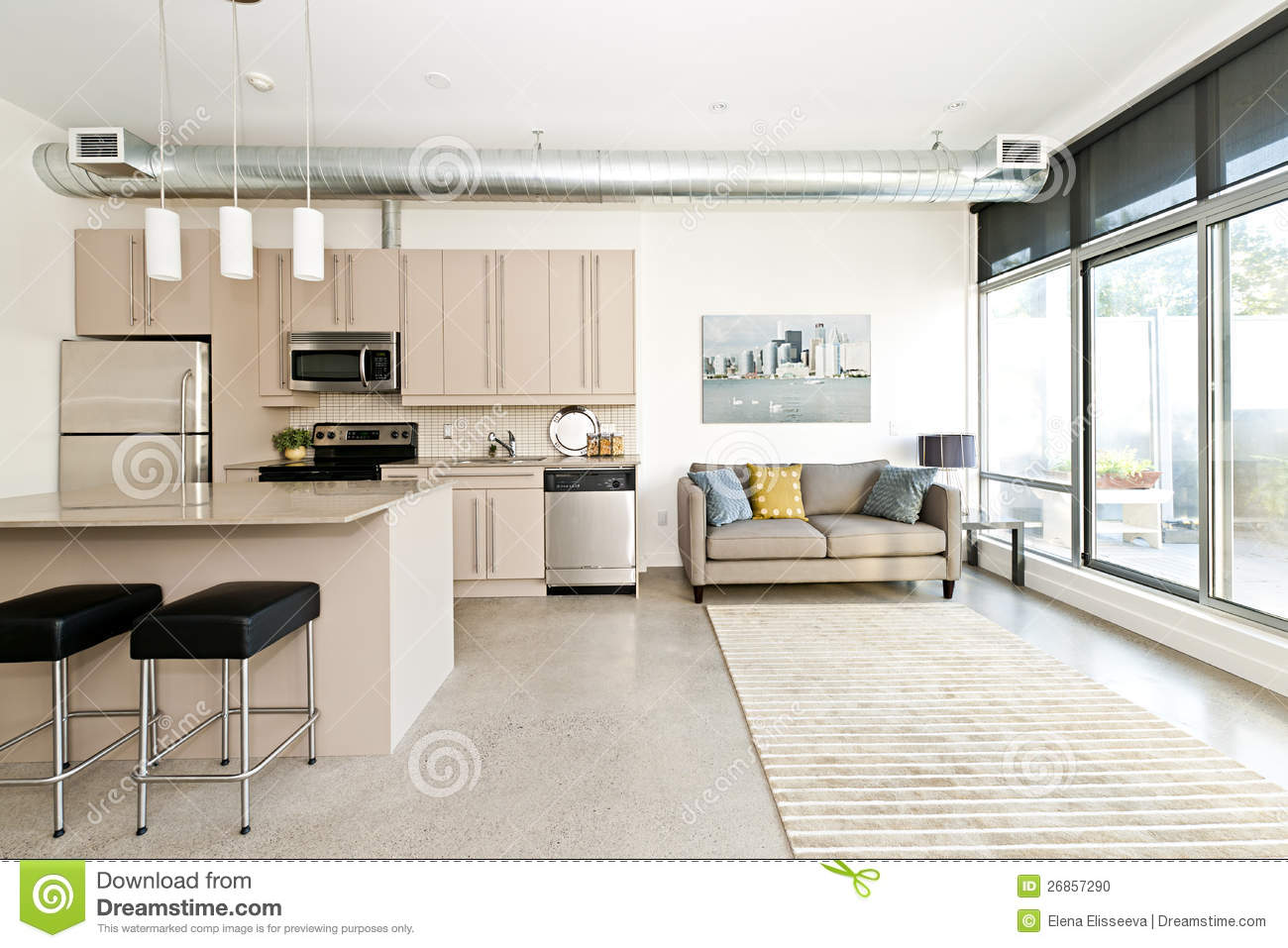 Efficiency Apartment Vs Studio Modern Condo Kitchen And Living Room Stock Photo Image