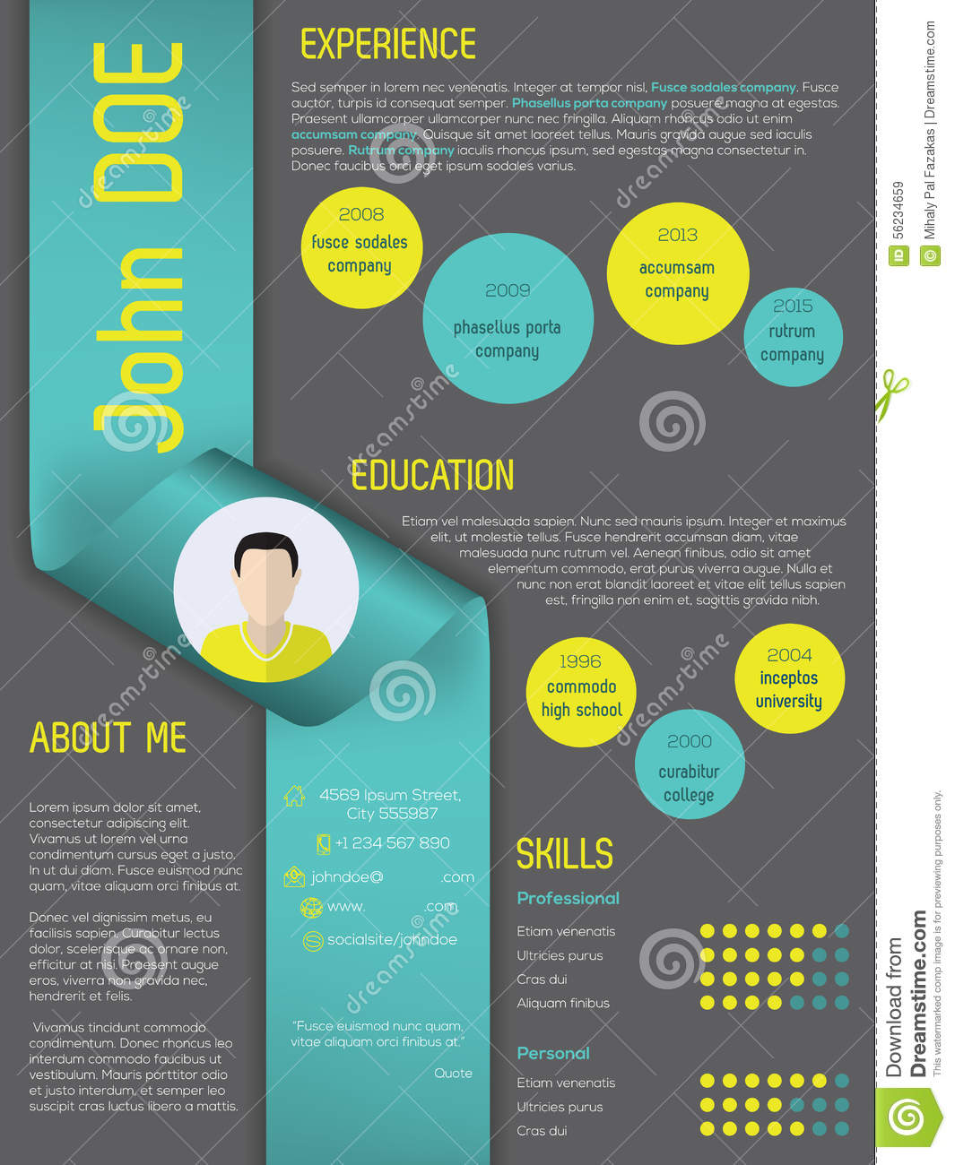 cv design green template