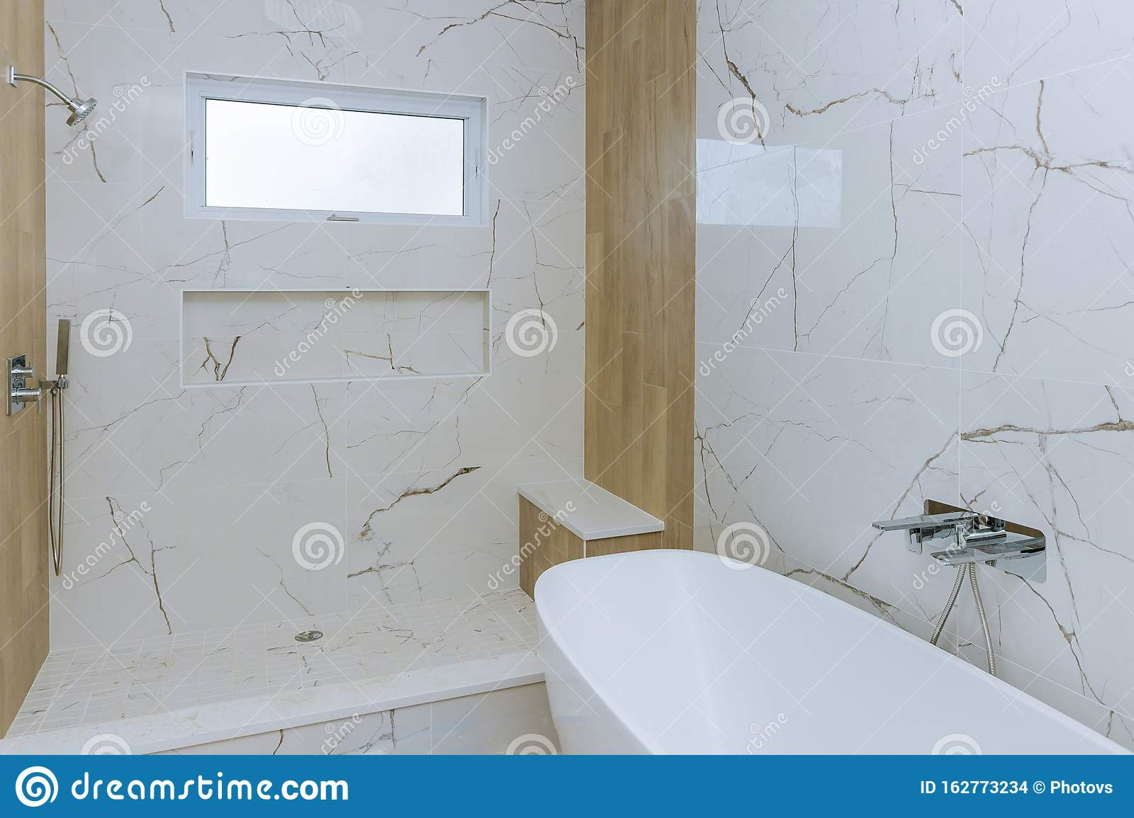 Modern Design Bathroom Interior An Open In Shower Stock Photo Image Of Modern Faucet 162773234