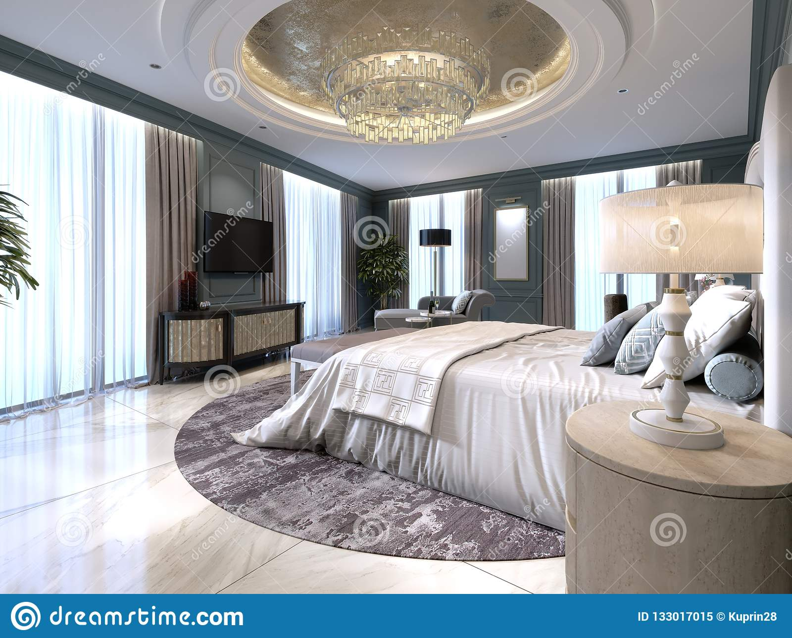 Modern Decorations For Bedroom The Modern Design Of The Bedroom With A Large White Bed And