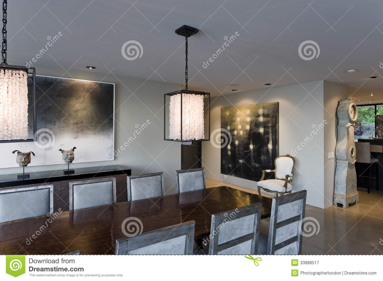 Lights To Hang Over Dining Table Modern Dining Room Stock Image Image Of Room Painting