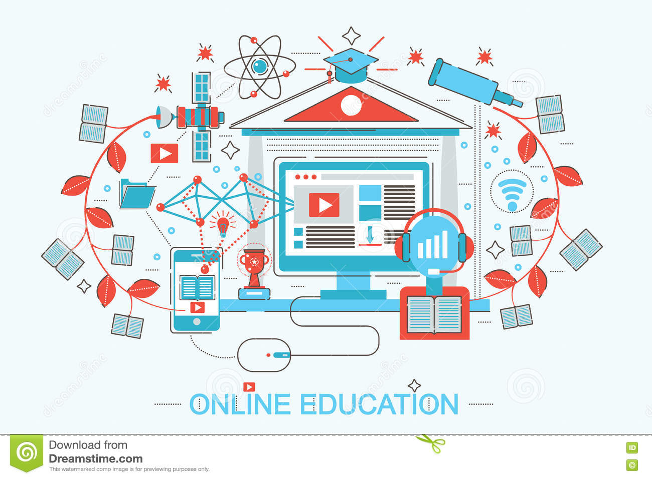 E learning poster designs -  Design Distance Online Education And E Learning Concept Download
