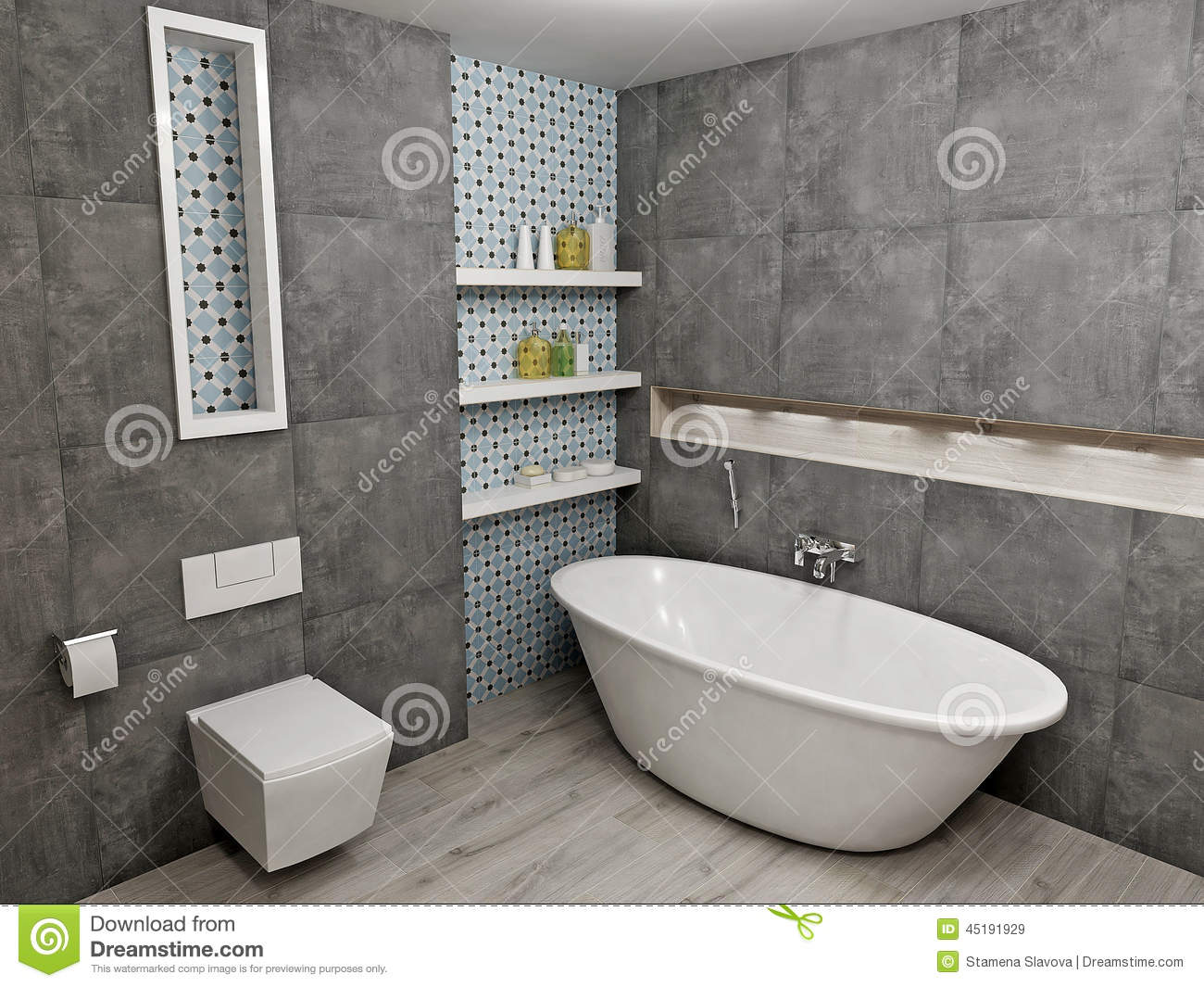 Piastrelle Per Bagni Moderni Modern Gray Bathroom Stock Illustration. Illustration Of