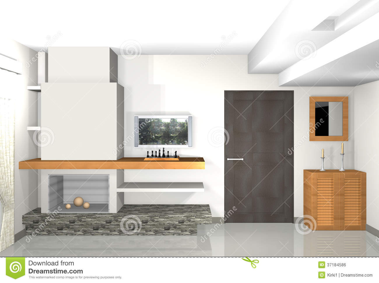 Fireplace 3d Wallpaper Modern Grey Living Room With Library And Fireplace