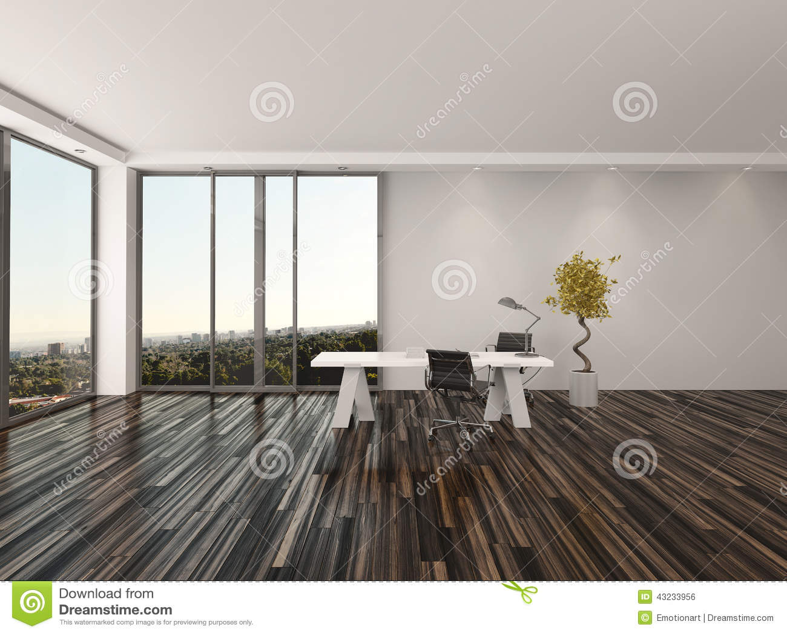 Modern home office interior design stock illustration