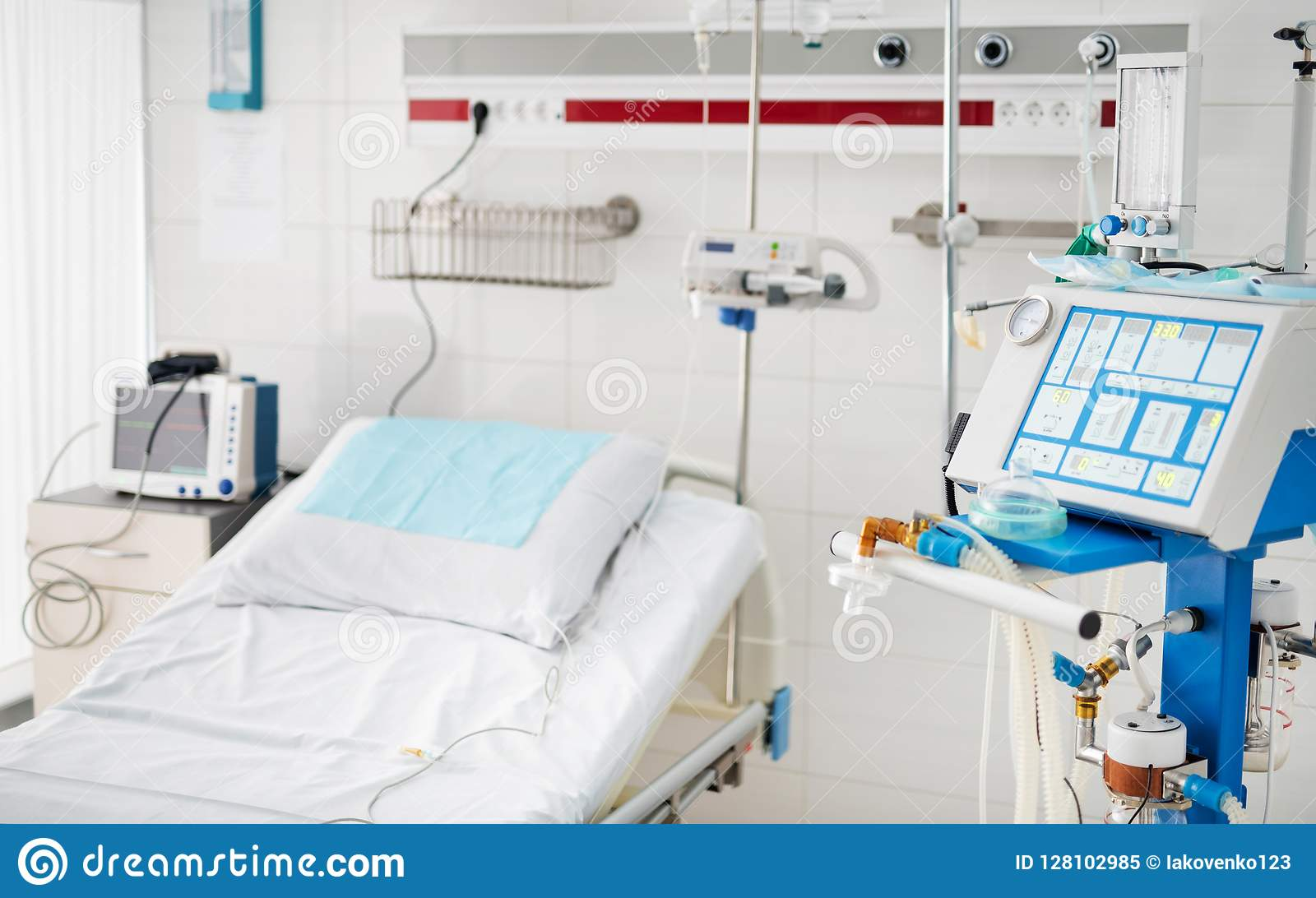 Ventilator Modern Modern Hospital Room With Bed And Ventilation Equipment Stock