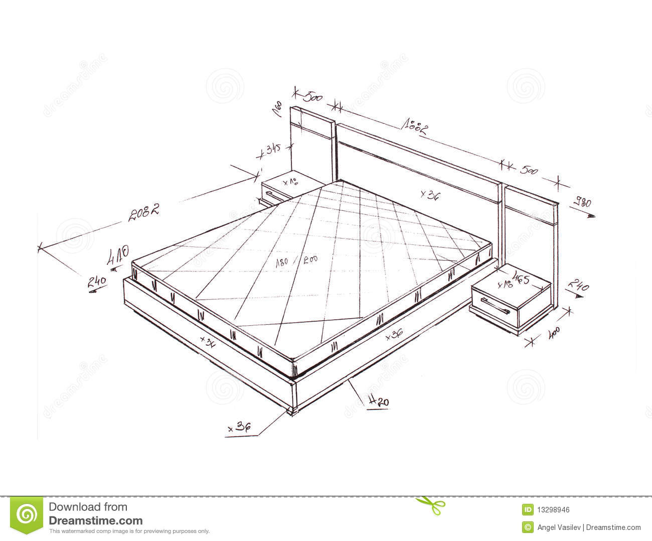 Dessin Lit Double Modern Interior Design Bed Freehand Drawing Stock