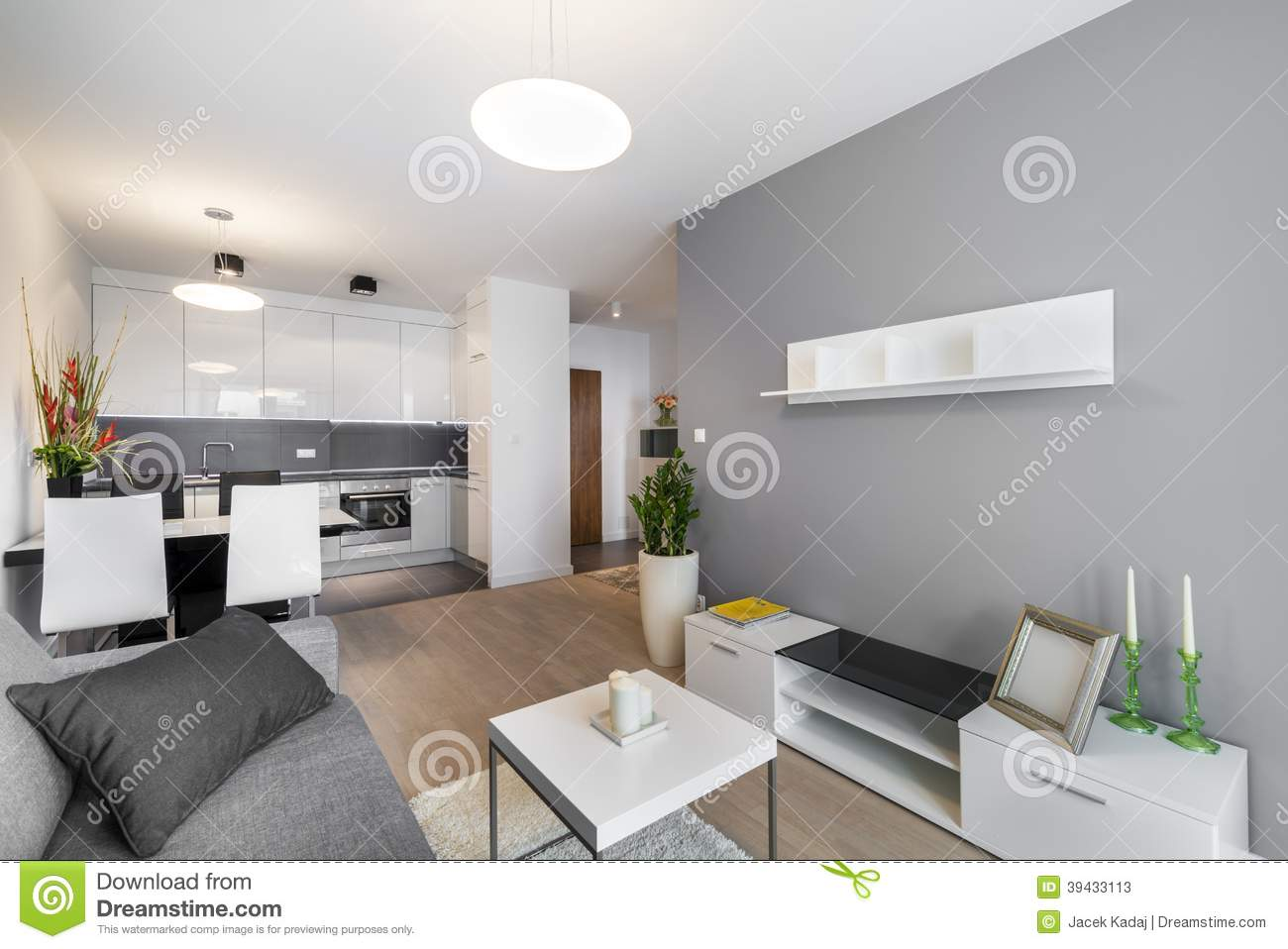 Modern Living Room With Kitchen Interior Design Modern Interior Design Living Room Stock Image Image Of Luxury