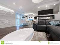 Modern Interior Design Living Room With Kitchen Stock ...
