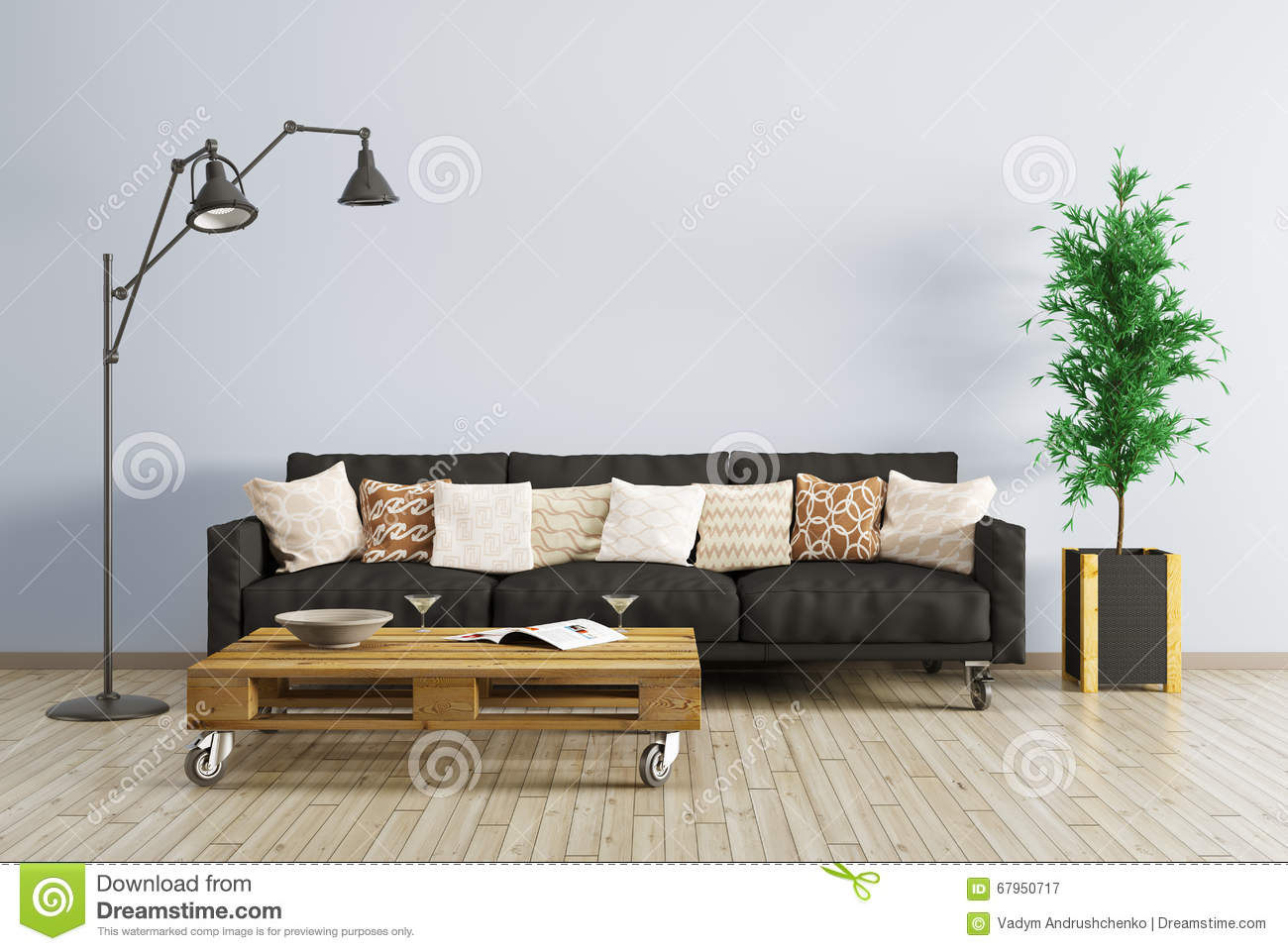 All Black Living Room Modern Interior Of Living Room 3d Render Stock
