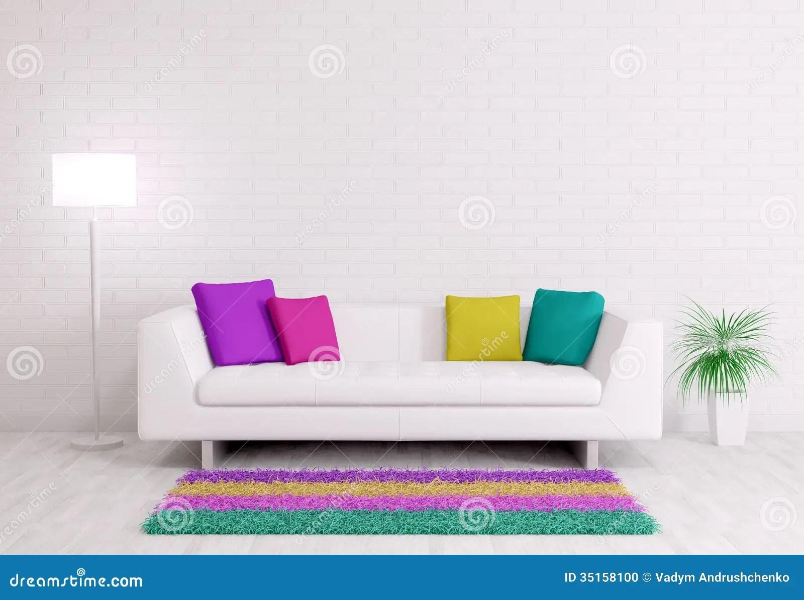 3d White Brick Wallpaper Modern Interior With Sofa 3d Render Stock Illustration