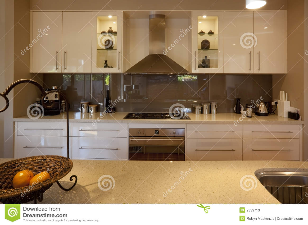 Glass Benchtops Modern Kitchen Stock Image Image Of Sink Domestic Extractor