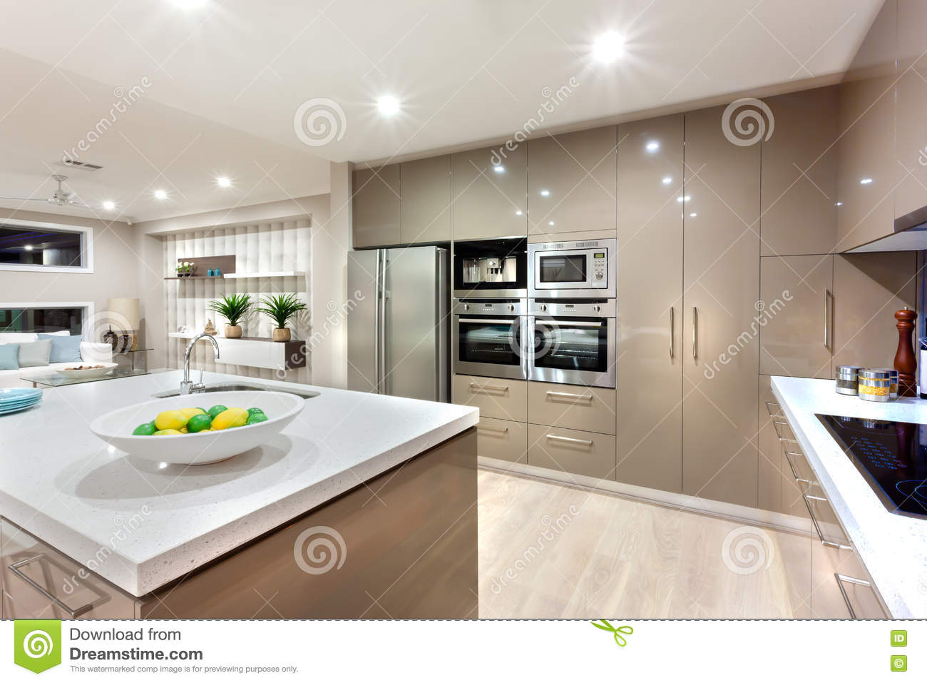 Modern Kitchen Area Illuminated With Lights At Night Stock Image Image Of Area Decoration 76705225