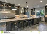 Modern Kitchen With White Countertops, White And Brown New ...