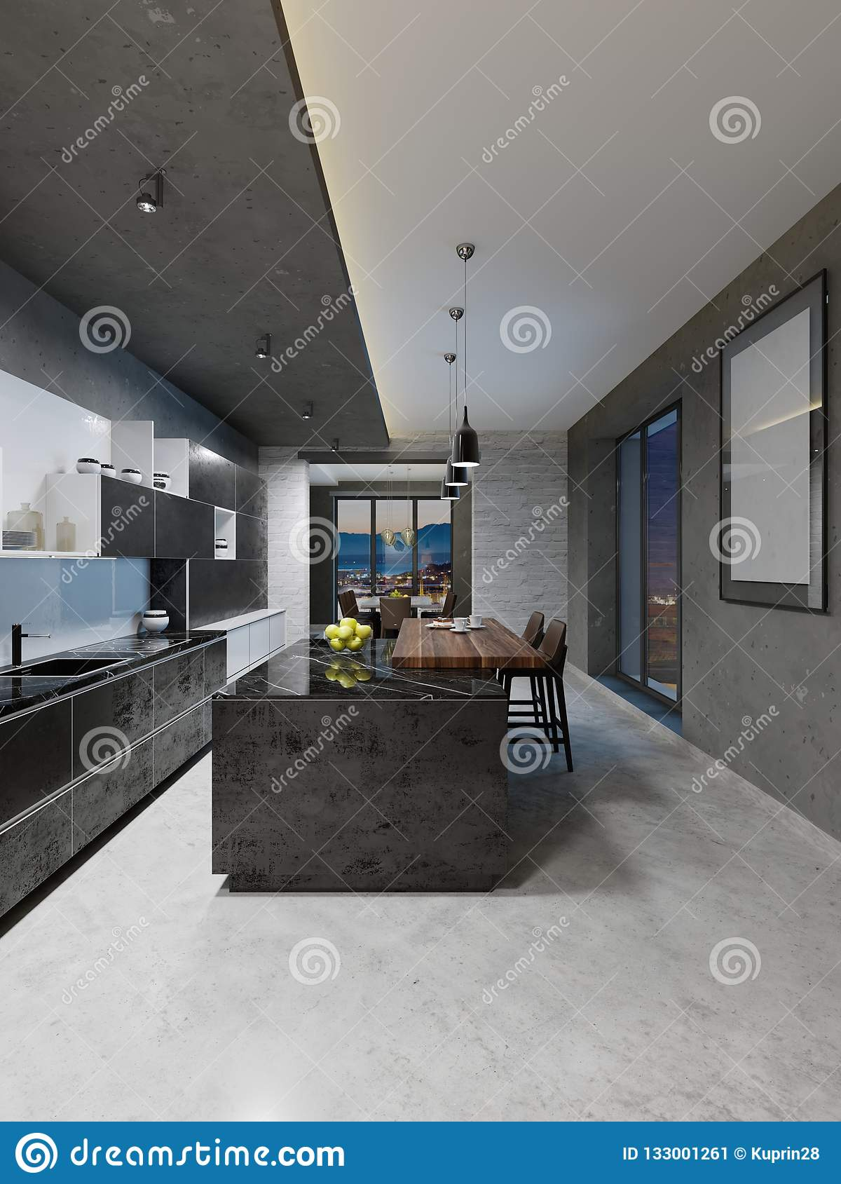 Long Kitchen Design Pictures Modern Kitchen Design With A Long Center Island And Bar Table Fitted
