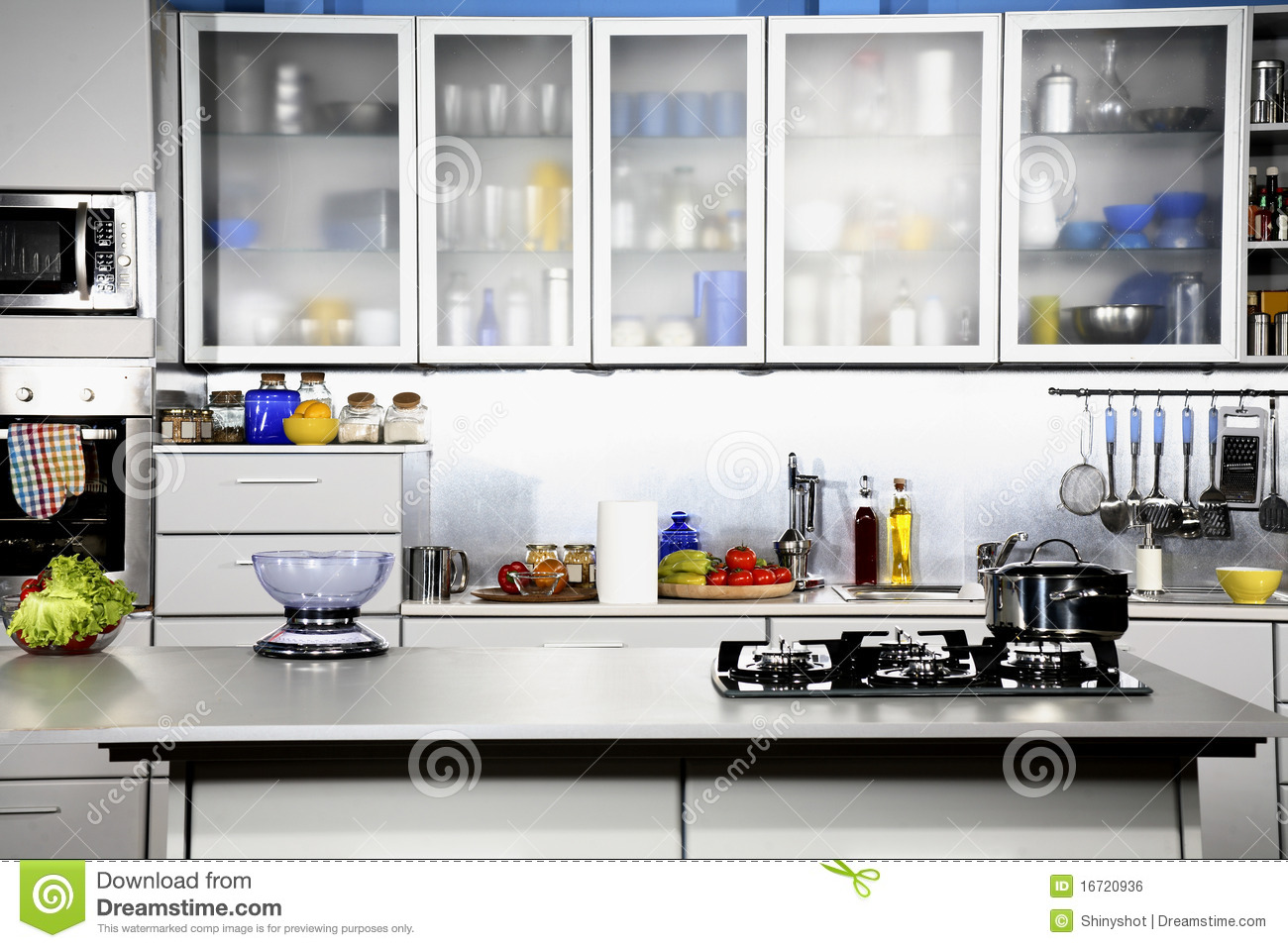 Modern Kitchen Front View Stock Photo Image Of