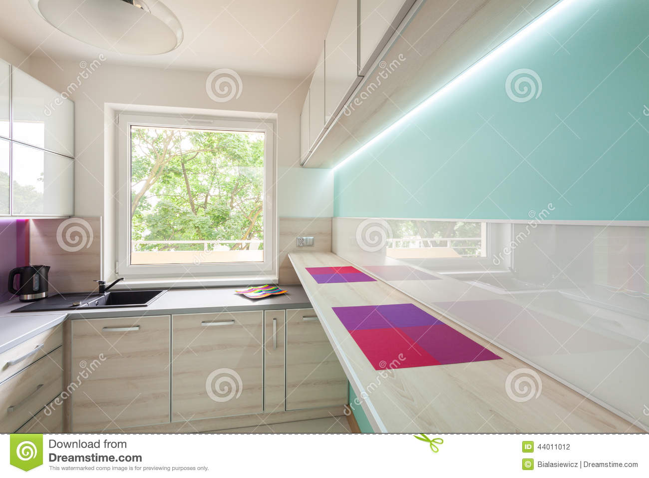 Neon Cucina Modern Kitchen With Neon Lighting Stock Photo Image Of Blue
