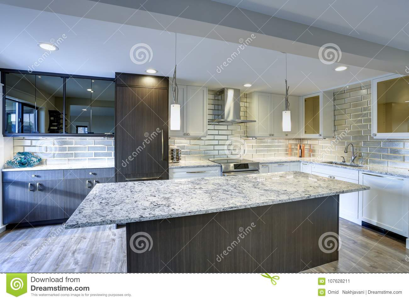 Large Modern Kitchen Island Modern Kitchen Room In A Condo Home Stock Image Image Of