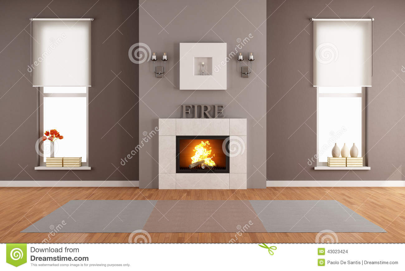 Kamin Clipart Modern Living Room With Fireplace Stock Illustration