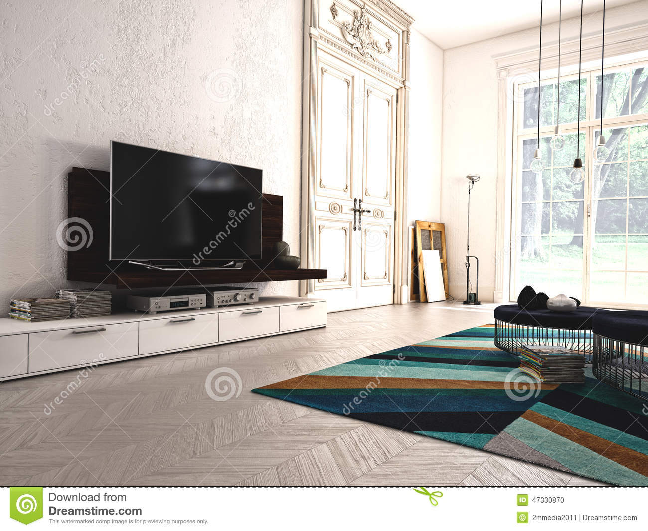 Hi Fi Tv Modern Living Room With Tv And Hifi Equipment 3d Stock Photo