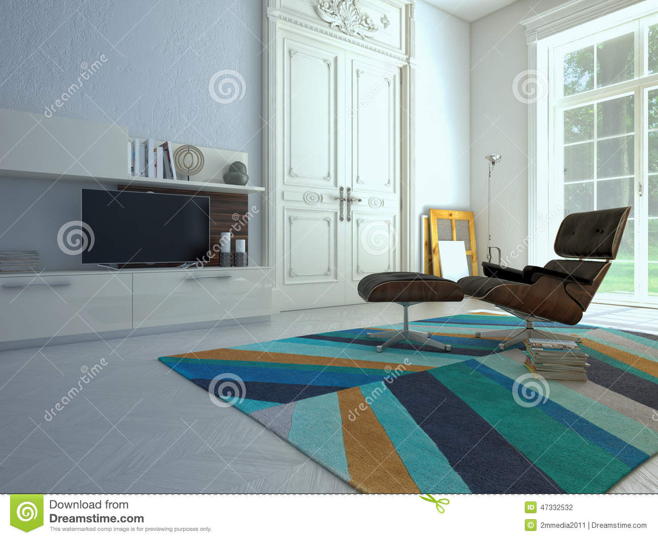 Hi Fi Tv Modern Living Room With Tv And Hifi Equipment 3d Stock