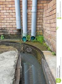 Modern Plastic Drain Pipe With Flowing Rain Water. Stock ...