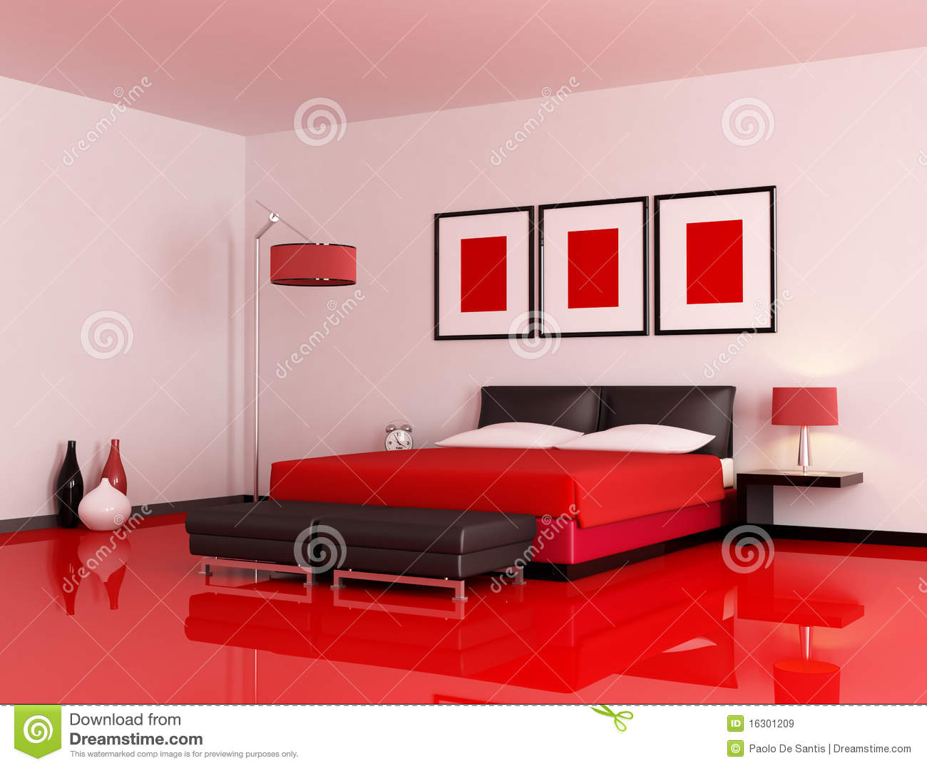 Modern Bedroom Red And Black