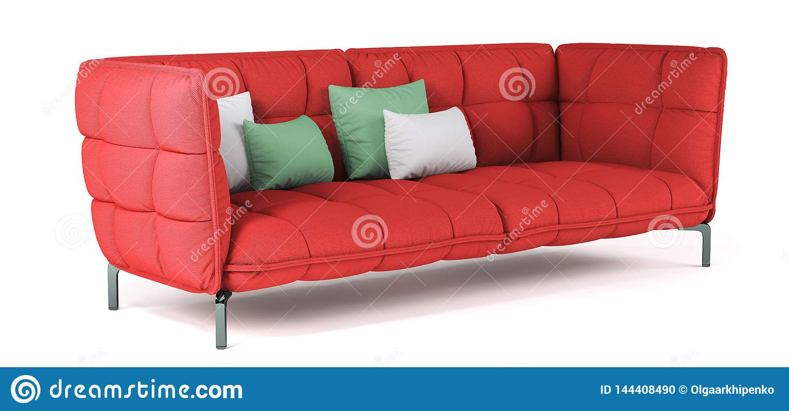 Modern Quilted Sofa Modern Red Quilted Fabric Sofa On Metal Legs With Pillows On