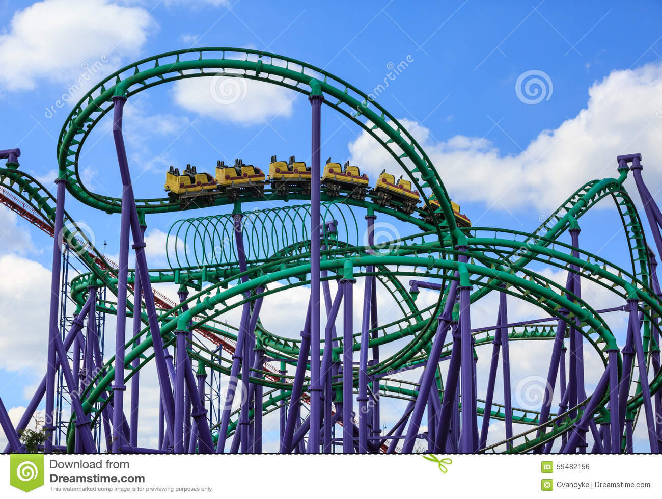 Large Coasters Modern Roller Coaster Amusement Park Stock Photo Image