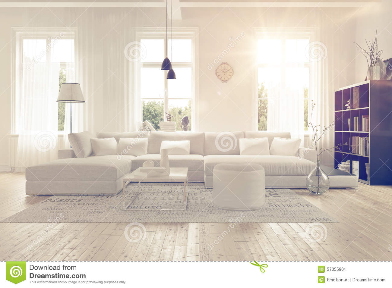 White On White Living Room Modern Spacious White Lounge Interior Stock Illustration