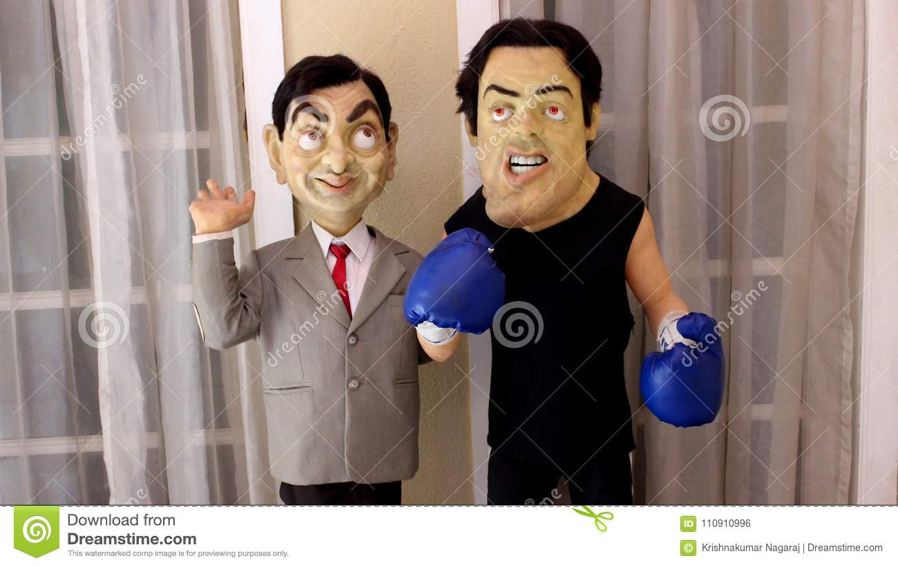 Mr Bean Mr Bean And Sylvester Stallone Statue Editorial Photo Image Of